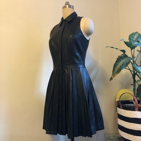 Armani Exchange Dresses & Skirts - A/X ARMANI EXCHANGE BLACK LAMBSKIN LEATHER DRESS